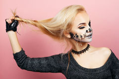 Girl with drips on the face for Halloween Stock Photography
