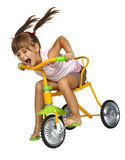 Girl  drive fast  bicycle. Child girl with long tails drive bicycle very fast Royalty Free Stock Photo
