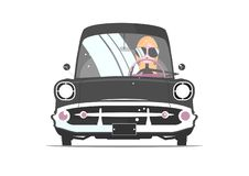 Girl in sunglasses driving vintage car. Girl driver. Girl in sunglasses behind the wheel of a retro car. Front view. Flat vector stock illustration