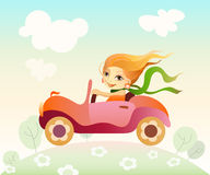 Girl driving car. Vector illustration  of a girl driving car Stock Photos