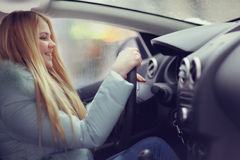 Girl driving a car Royalty Free Stock Images