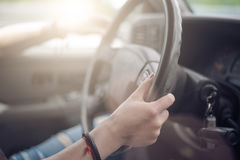 The girl driving the car Stock Photography