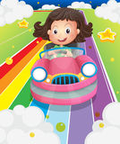 A girl driving her pink car vector illustration