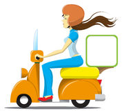 Girl driving a scooter Royalty Free Stock Photos