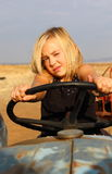 Girl Driving Tractor Stock Images