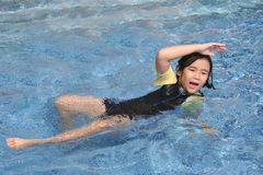 Girl drowning. Little girl in danger drowning in the swimming pool Royalty Free Stock Photos