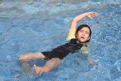 Girl drowning. Little girl in danger drowning in the swimming pool Stock Photo