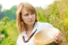 Girl with drum Royalty Free Stock Photography