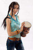 Girl with drum Royalty Free Stock Photos