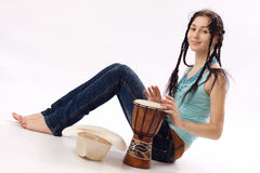 Girl with drum Royalty Free Stock Image