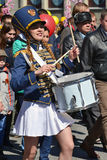 The girl the drummer with a drum at demonstration on May 9, 2016 Stock Photography