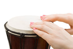 Girl drummers hands playing isolated on white Royalty Free Stock Image
