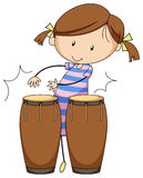 Girl and drums Stock Photos