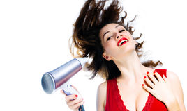 Girl with a dry. A girl with a dry on the white background royalty free stock photo