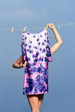 Girl dry fashionable flower dress. Outdoors.summer style Stock Photo