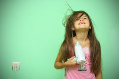 Girl dry his hear Royalty Free Stock Photo