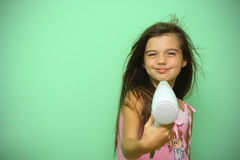 Girl dry his hear Stock Photography