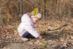 Girl and Dry Leaves Royalty Free Stock Photography