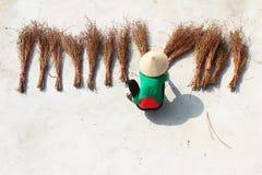 Girl drying brooms Stock Photos