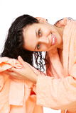 Girl drys hairs with towel. Stock Image