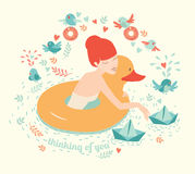 Girl with duck, lifebuoy floating and paper boats on water with birds Royalty Free Stock Images