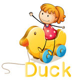 Girl and duck toy Stock Images
