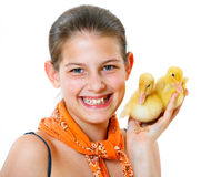 Girl with duckling Stock Image