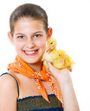 Girl with duckling Stock Photography