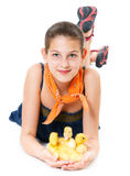 Girl with duckling Royalty Free Stock Image