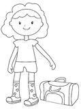 Girl with a duffel bag coloring page Royalty Free Stock Photos