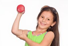 Girl with dumb bell Royalty Free Stock Photography