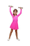 Girl dumb-bells pink sport Royalty Free Stock Photography