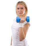 Girl with dumbbell Stock Photo