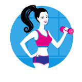 Girl with a dumbbell Royalty Free Stock Image