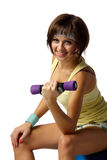 Girl with dumbbells Royalty Free Stock Photo