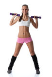 Girl with dumbbells Royalty Free Stock Photos