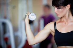 Girl with dumbbells. Girl holding dumbbells in hands Royalty Free Stock Photo