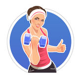 Girl with dumbbells for fitness Royalty Free Stock Photos