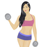 Girl with dumbbells Stock Photo