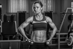 The girl with dumbbells Stock Photo