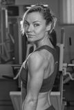 The girl with dumbbells Royalty Free Stock Photos