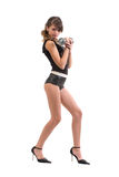 Girl with dumbbels Royalty Free Stock Photos