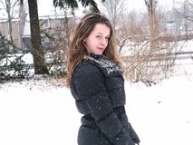 Dutch girl in the snow. Stock Images