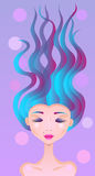 A girl with dyed hair. Portrait of a girl with curly long hair multicolored Royalty Free Stock Photography
