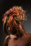 Girl with dyed hair, professional hair colouring Royalty Free Stock Photos