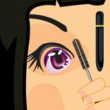Girl dyes brow. Making look younger attractive girl dyes brow by mascara Stock Images