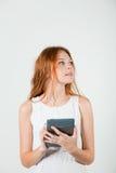 Girl with e-book Stock Photos