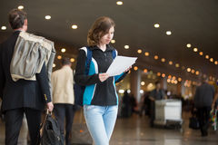 Girl with e-tickets Stock Images