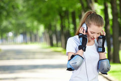 The girl with ear-phones Royalty Free Stock Images