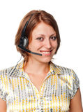 Girl with ear-phones and a microphone Royalty Free Stock Photos